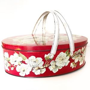 Vintage Tin Sewing / Picnic Basket Lid and Handle